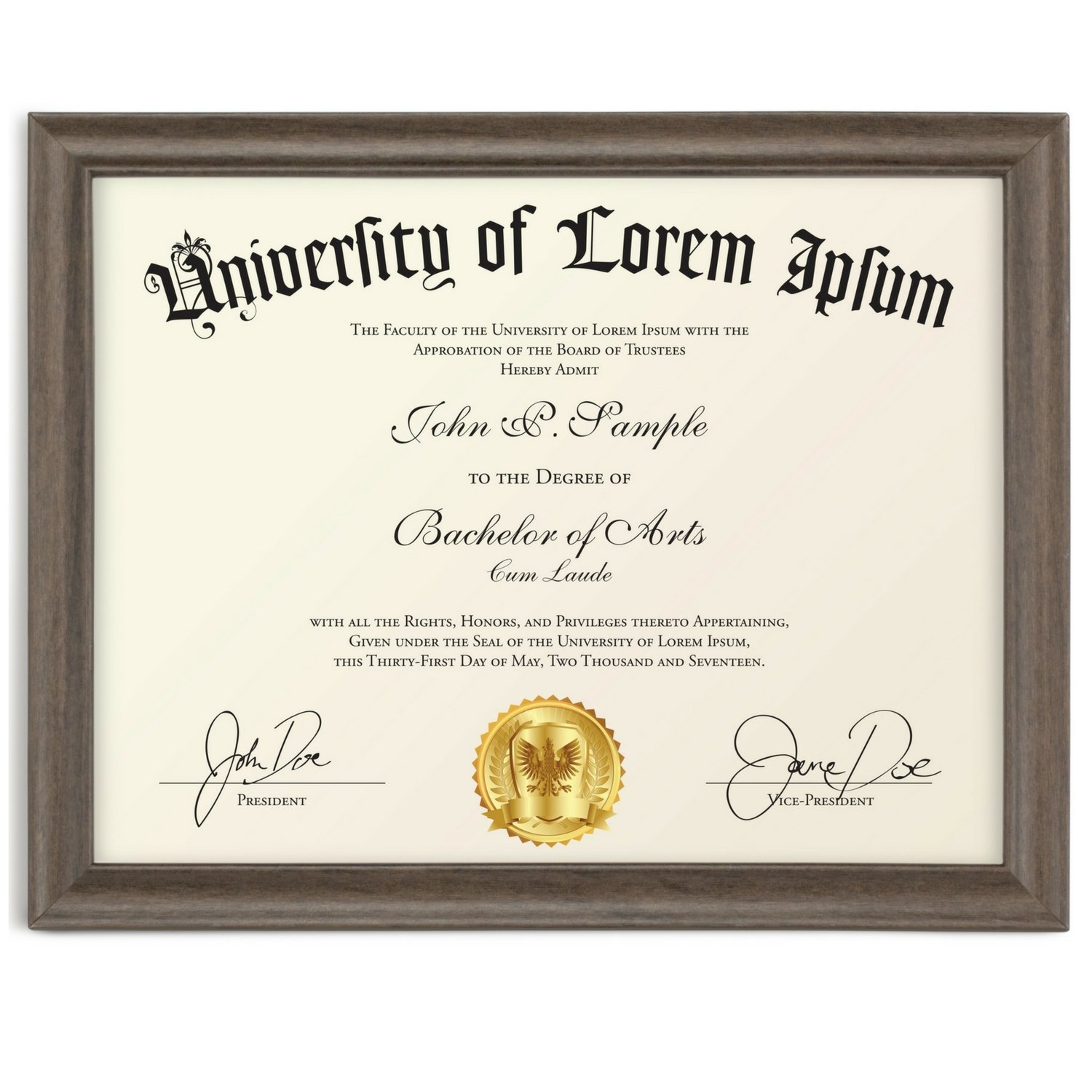 Icona Bay Certificate Holder Document Frame (Hickory Brown, 8.5 x 11 Inch, 1-Pack), Business License Permit, College Degree Diploma Frame for Standard Letter Size Paper, Wood Finish