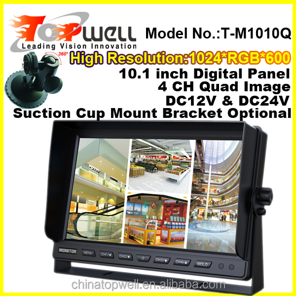 10. 1 inch large screen remote control digital panel 4 quad car display with suction cup mount bracket
