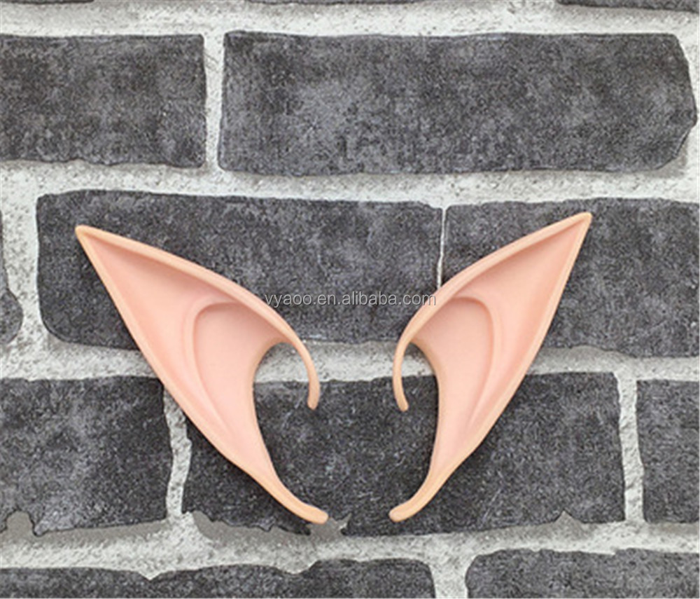 2017 Hot Sale Halloween Party Fairy Cosplay Accessories Elf Ears Latex Soft Pointed Prosthetic Fake Ears