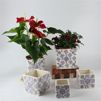 Square shape antique shape garden decoration outdoor decorative planter pots / ceramic plant pot