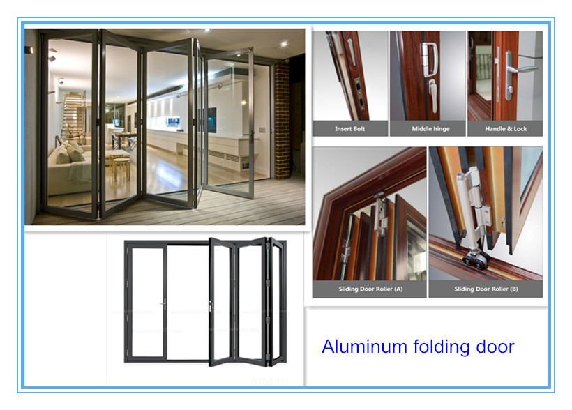 Thermal break aluminum bi folding door double glass aluminum folding door