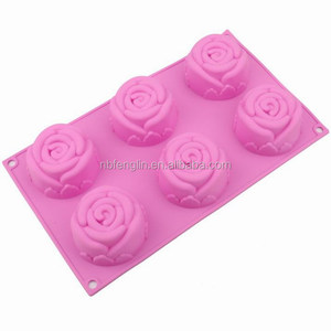 Food Grade Bakeware Six Cavity Rose Design Non Stick Handmade Soap Jelly Pudding Chocolate Silicone Cake Mould