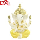 Yellow White Jade Handmade Hindu God Resin Idols Indian Lord Ganesh Statue