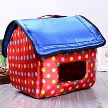 Factory directly premium colorful dot blue cover lovely pet house dog bed