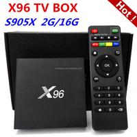 2017 Factory Cheapest Android 6.0 Smart Quad Core 4K digital tv converter box H.265 X96 Amlogic S905X TV Box