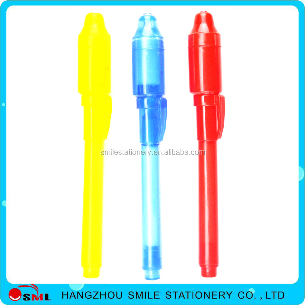 Custom logo hot sales Plastic Magic pen invisible ink penwith led light