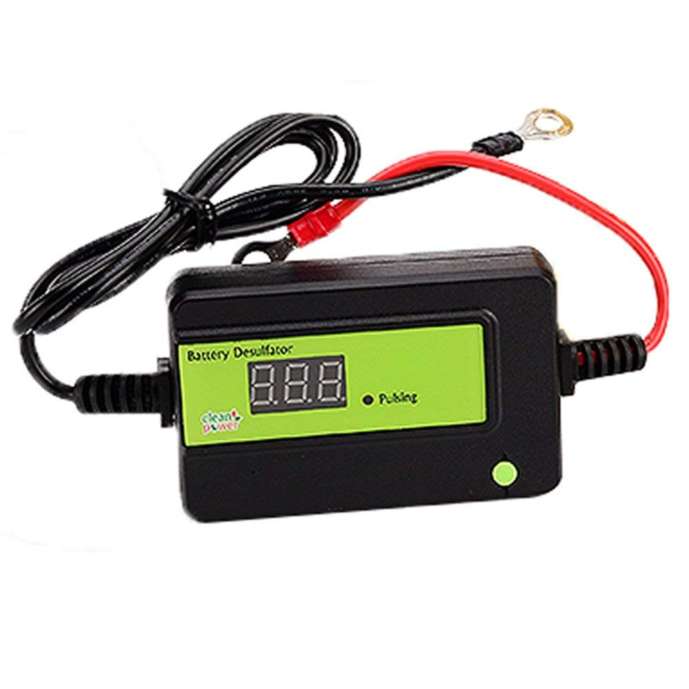 Clecibor Auto Pulse Desulfator for 2A Lead Acid Batteries 12/24/36/48V Battery Regenerator with Circular Ring, Green