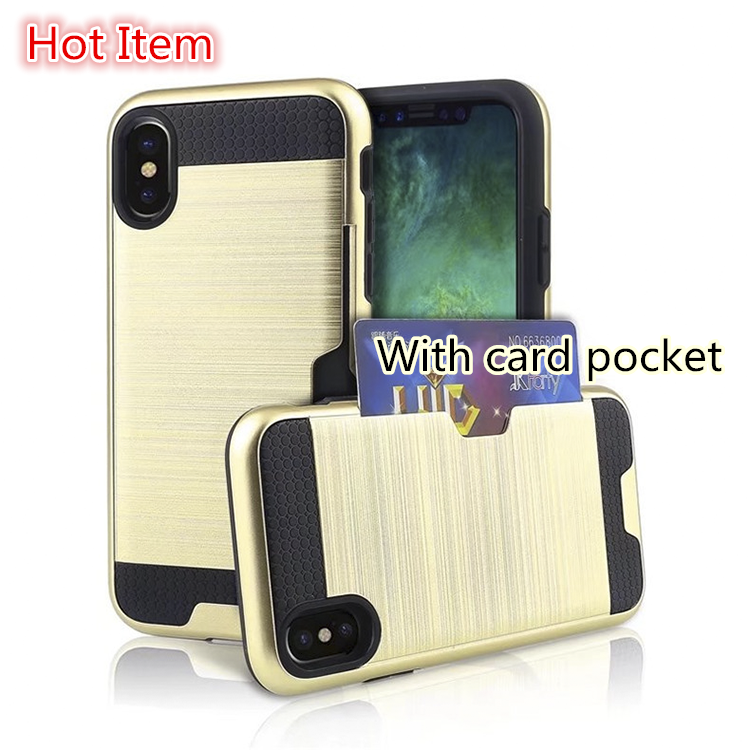 Wholesale combo TPU PC mobile phone case with card holder for iphone X iphone 7 plus