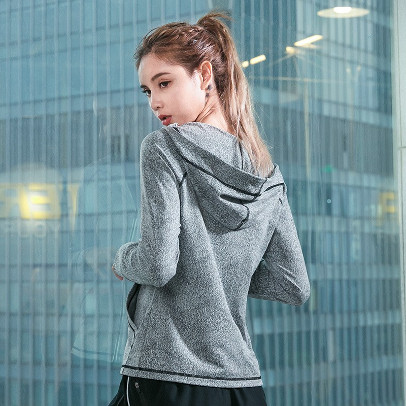 Winter New Windproof Hooded Zipper Women Sports Jacket,Fitness Quick Drying Training Exercise Yoga Running Coat 3