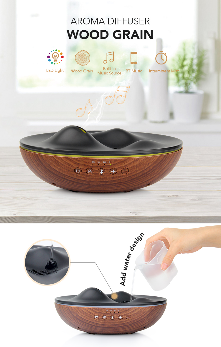 JX 300ml Wooden Grain Meditation Smart Ultrasonic Electric Aromatherapy Essential Oil Diffuser with Music Speaker