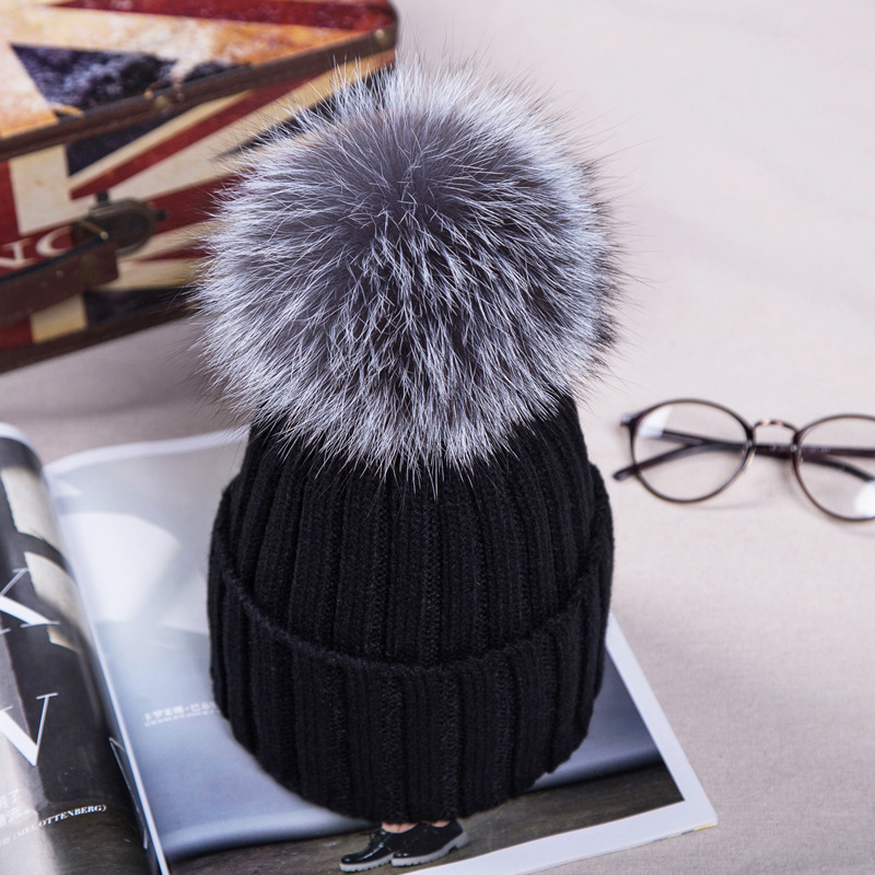 9829fe6e7ff355 15cm Real Fox Fur Ball Cap Pom Poms Winter Hat For Women Girl  s Wool Hat  Knitted Cotton Beanies Cap Brand Thick New Female Crochet Beanie Beanies  For Girls ...