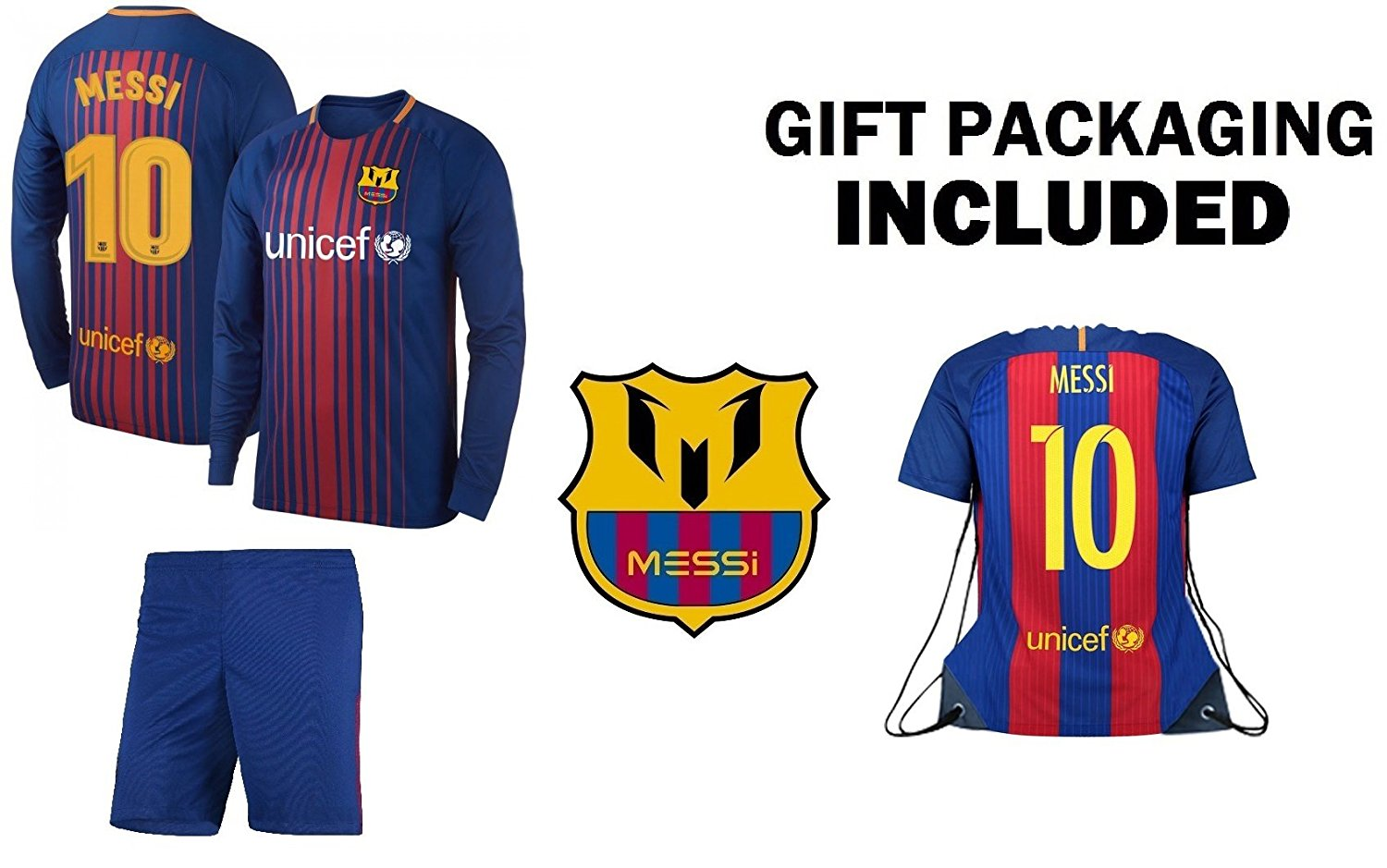 ebfb1172c1b Get Quotations · JerzeHero Barca Messi #10 Kids Youth 3 in 1 Soccer Gift  Set ✓ Soccer Jersey