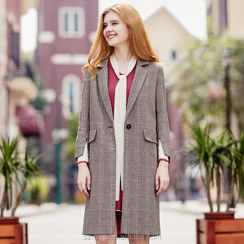 2018 Spring New Design Checker Pattern Suits Lapel Lady Woolen Coat