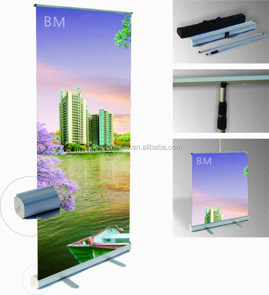adjustable roll up banner stand, standing Roller screen. pull up stand