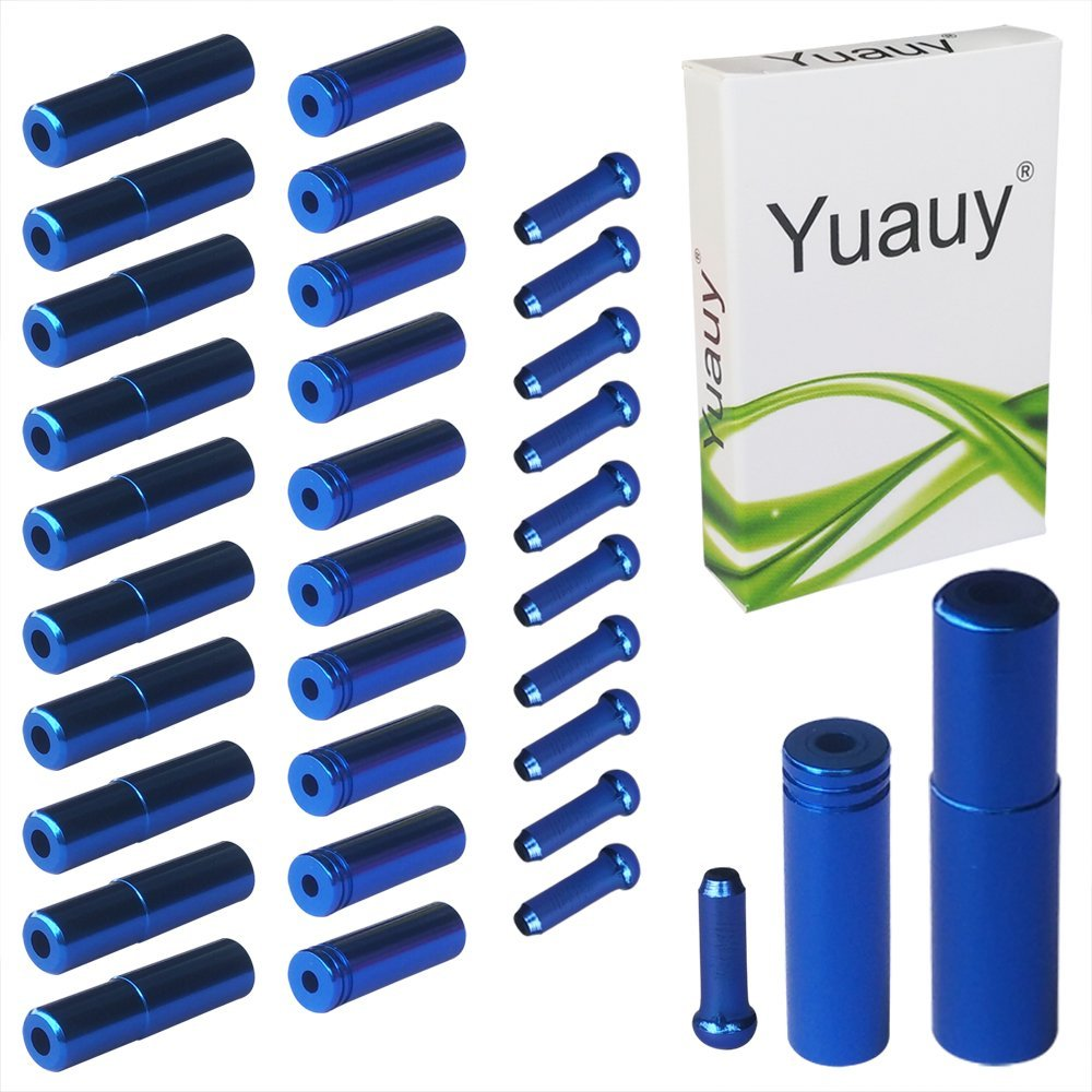 Yuauy (Total 30 PCS) 10 PCs 5mm Blue Alloy Road Mountain Bicycle Bike Brake Cable Tips Caps End Crimp + 10 PCs 4mm Shift Derailleur Cable Tips End + 10 PCs Cable End Crimps