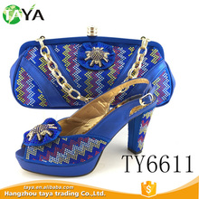 TY6611 2017 new arrival high heel hot selling african shoes matching bags set