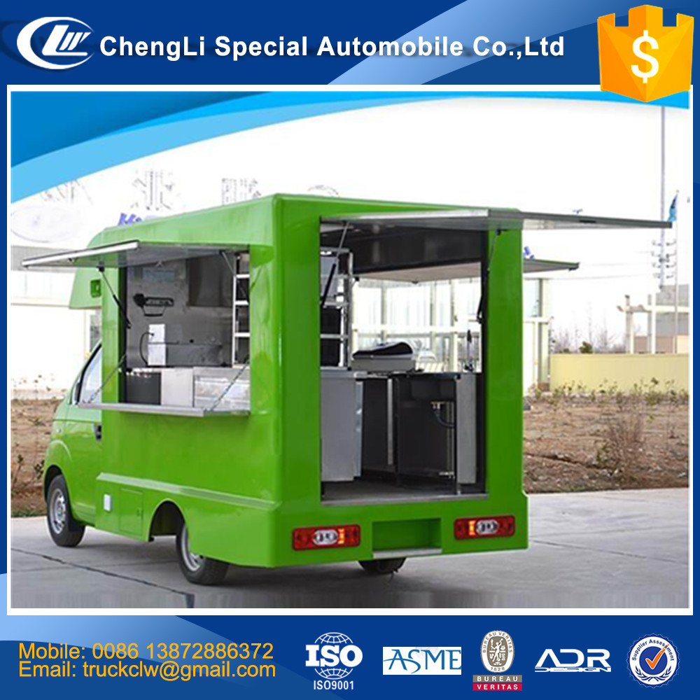 Best Selling food truck kitchen design 4x2 Restaurant on wheels for stainless steel fast food with kichen equipments for sale