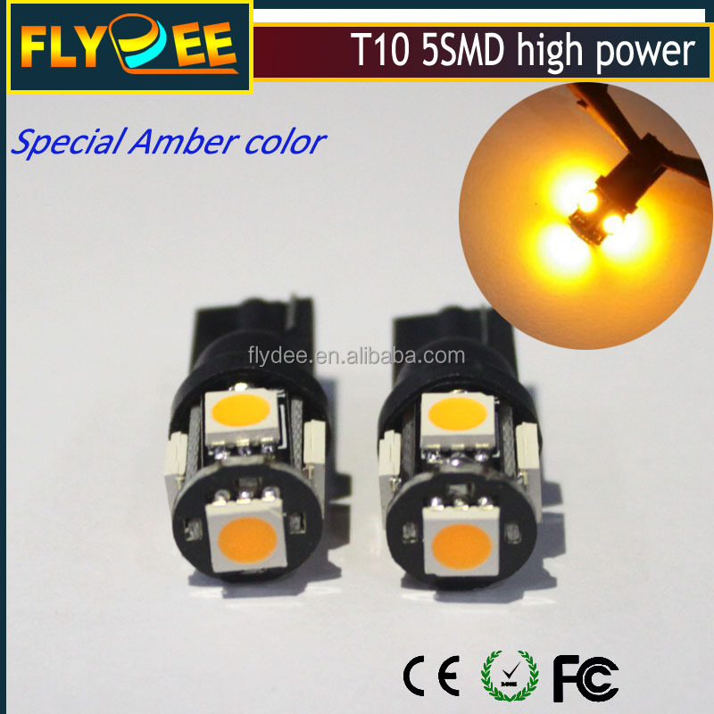 Auto car Super Amber color T10 Wedge 5-SMD 5050 LED Light bulbs W5W 2825 158 192 168 194