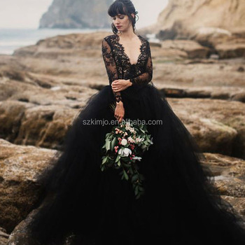 Black Wedding Dresses Lace Deep V Neck Long Sleeve Ball Gown Long