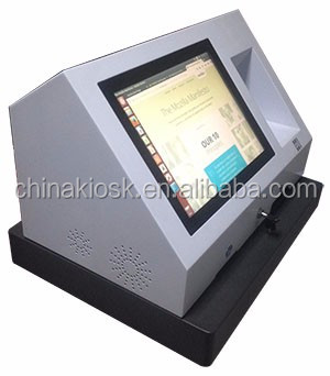 19 inch desktop Internet touchscreen kiosk with barcode scanner and thermal printer