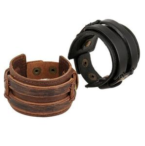 PK026 Huilin Jewelry Leather Cuff Double Wide Bracelet and Rope Bangles Brown for Men Fashion Man Bracelet Unisex Jewelry