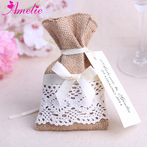 Vintage Handmade Burlap Lace Candy Gift Bags Jewelry Packaging Bags Wedding Gifts Pouch Birthday Party Christmas Gift Bags