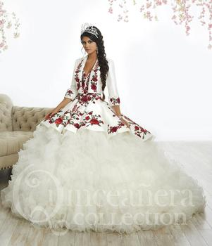 2018 Top Quality Embroidery Quinceanera Dresses White Satin Organza Ruffles Strapless Sweet 16 Dresses
