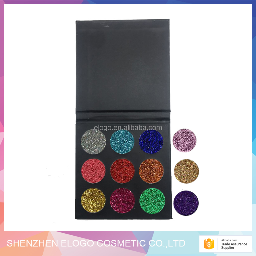 9 color OEM customize glitter eyeshadow palette