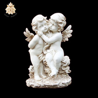 Graceful white marble stone children angel sculpture with wings NTBS-360Y