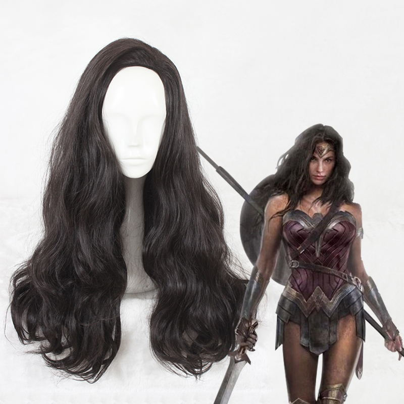 Black Peruca Cosplay Wig 65 Long Curly Wonder Woman Diana Prince Synthetic Anime Cosplay Hair Wig CS-337A фото