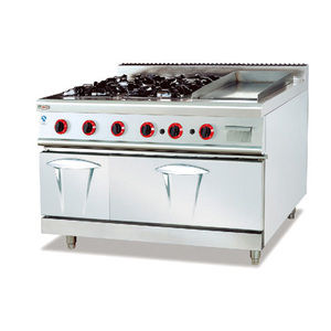 Multifunction Cooking Equipment Gas Range Stove With 4-Burner&Griddle&Oven