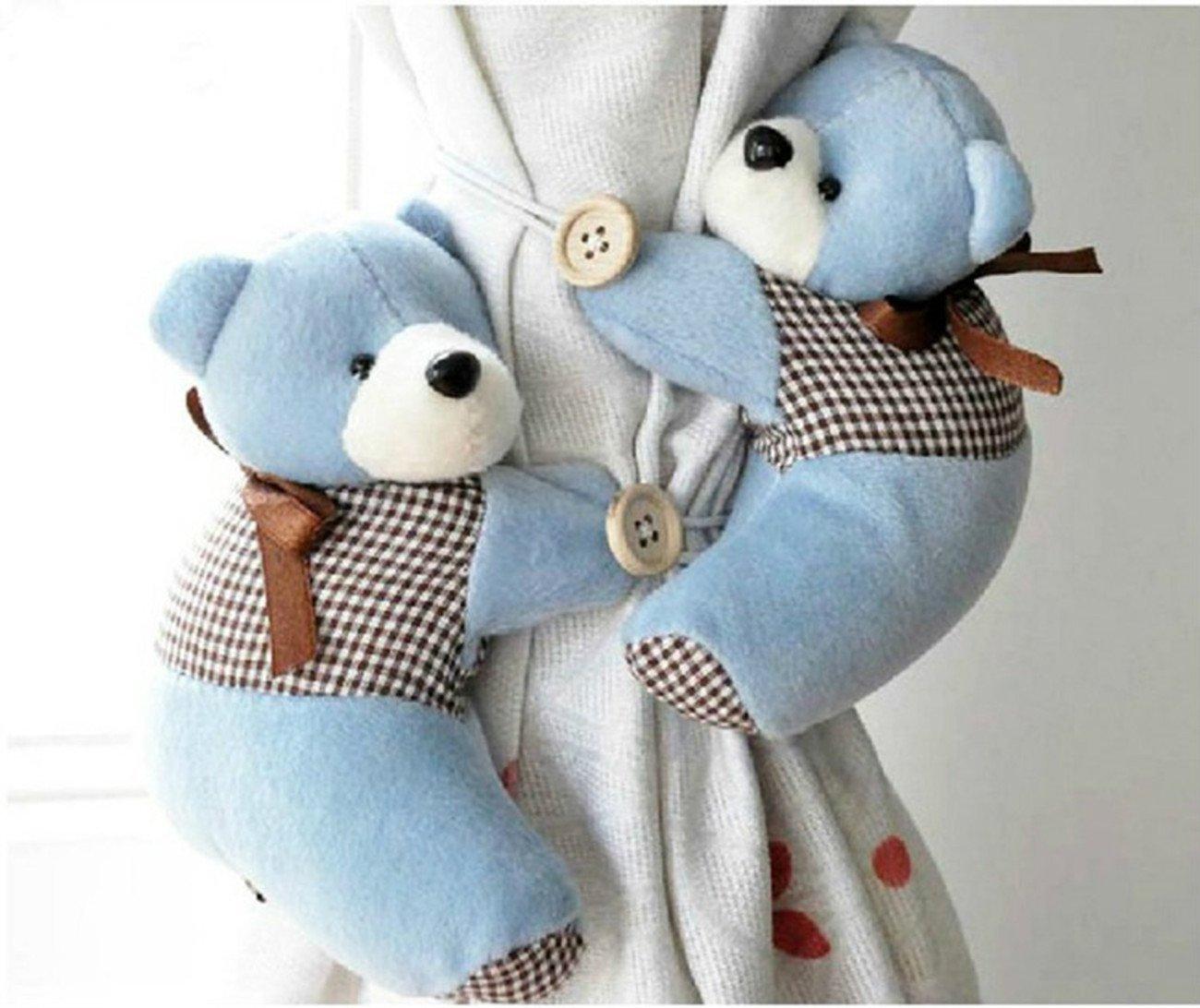 Jackie 1 Pair Blue Baby Kid Toddler Child Infant Nursery Room Bedroom Animal Cartoon Plush Bear Shaped Window Curtain Tieback Tie Back Decor Holder Buckle Holdback Belt Hooks Clip Clasps Toy