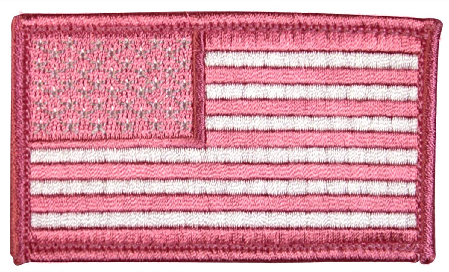 American Flag 2 x 3 Inch Pink Hook and Loop Patch