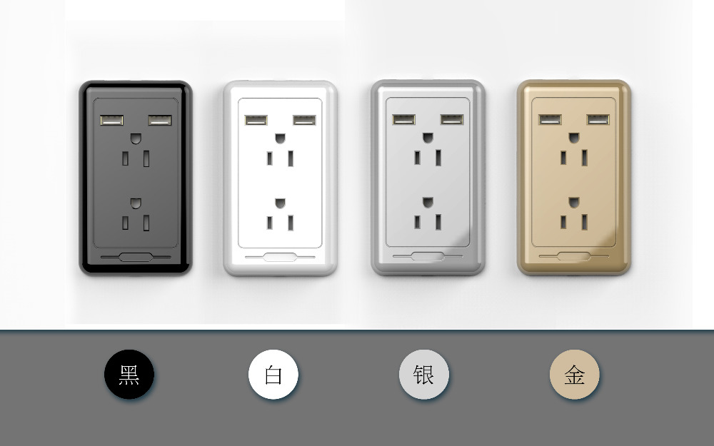 Upgrade North America AC power socket with 2 USB wall Socket Outlets mobile phone wall charger home/office/hospital/Factory