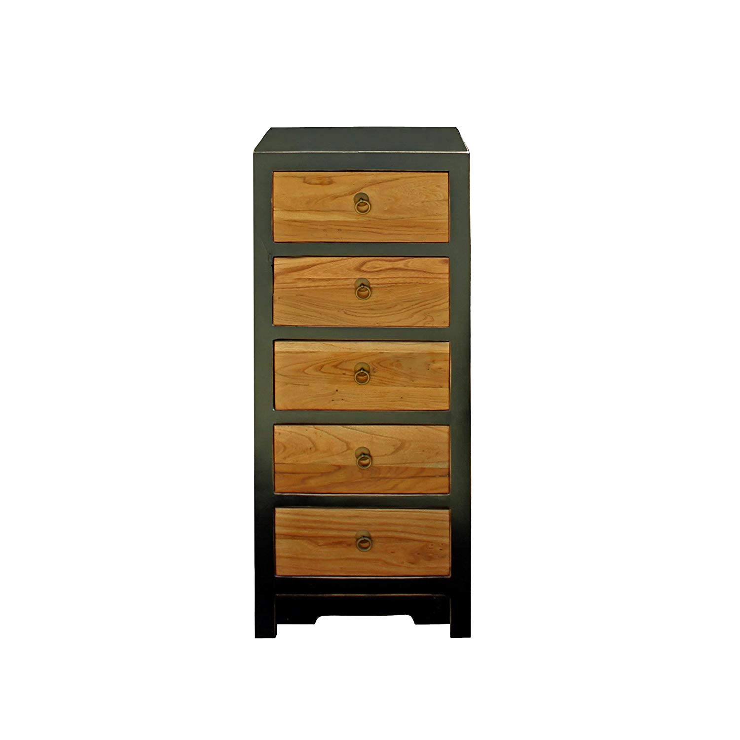 Black & Brown Five Drawers Slim Chest of Drawers Cabinet Acs4184