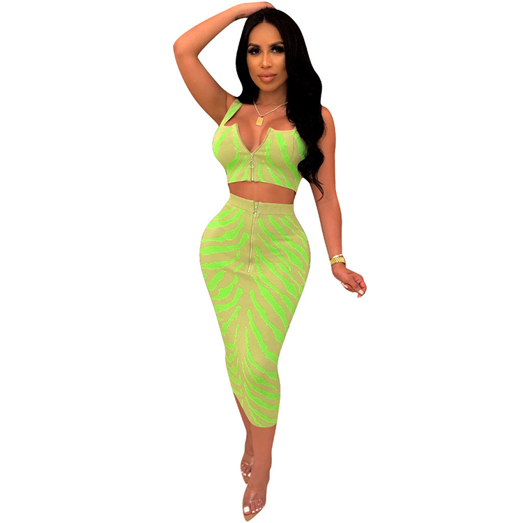Hot Sale Womens Sexy 2 Pieces Zipper Crop Tops Bodycon Dress Party Clubwear Outfit Skirts Set