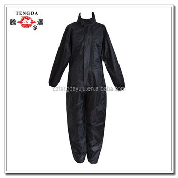 waterproof motorcycle black one piece jumpsuit vinyl rain suit