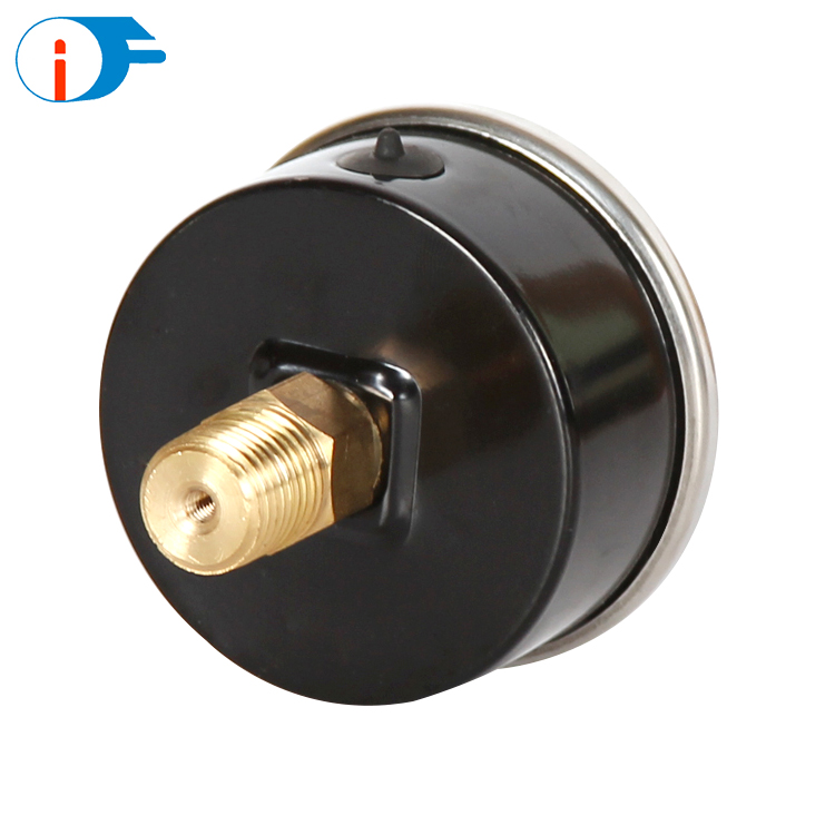 63mm Back Brass Connection Crimped Ring Hydraulic Pressure Gauge Oil Filled Dual Pressure Gauge with Flange