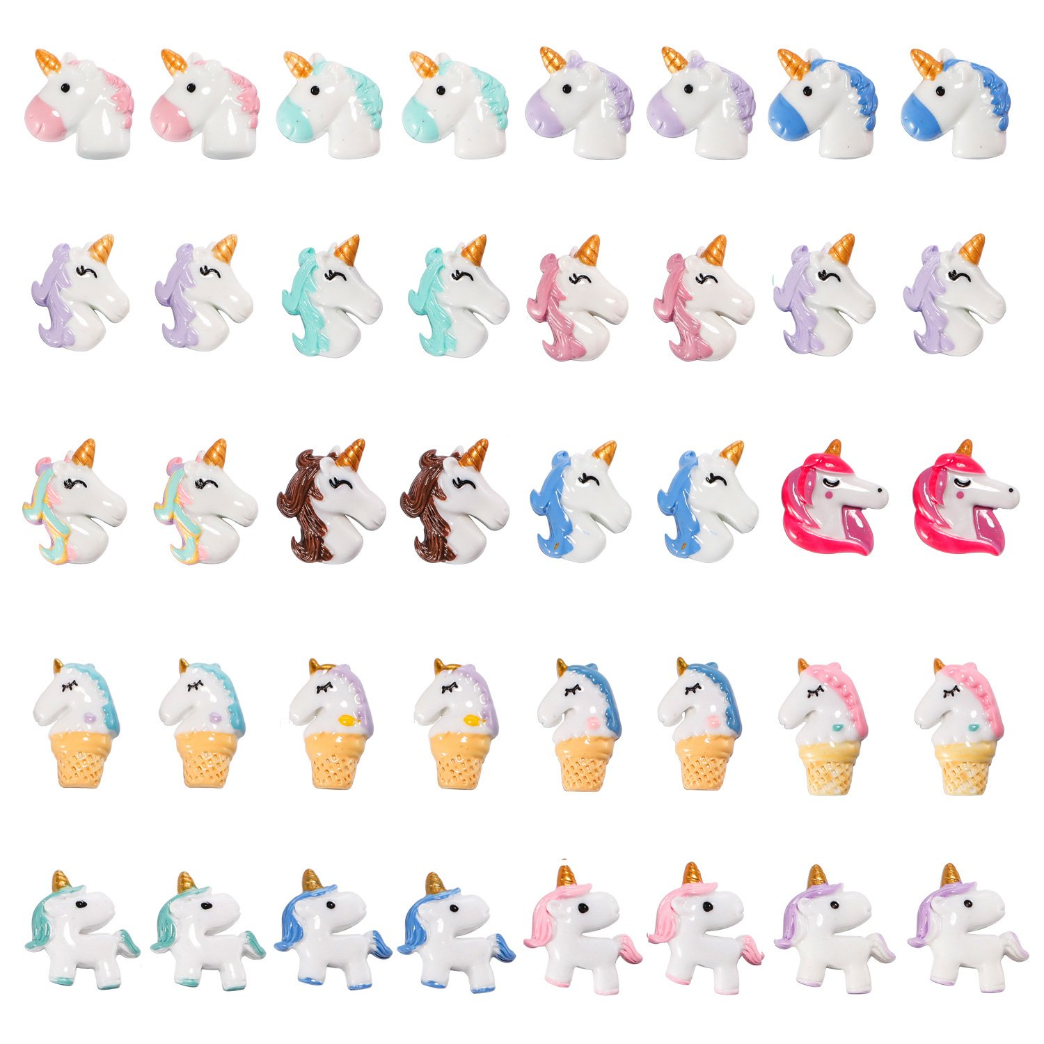 MAGICMAI 40 Pieces Unicorn Slime Charms Beads Cute Unicorn Charms Resin Ornaments Accessories for Handmade Crafe Making(20 Styles)