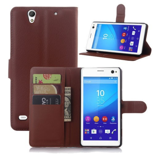 High quality mobile phone leather flip wallet stand case cover for Sony Xperia C4