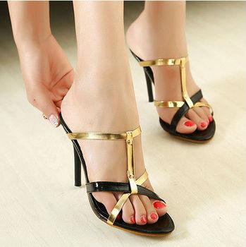 2014 New Model Bridal High Heel Sandal Mature Sexy Gold High Heel ...