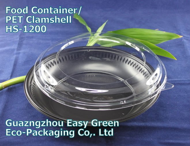 HOT! Disposable Black Round PP Salad Tray with Clear Lid HS-1200