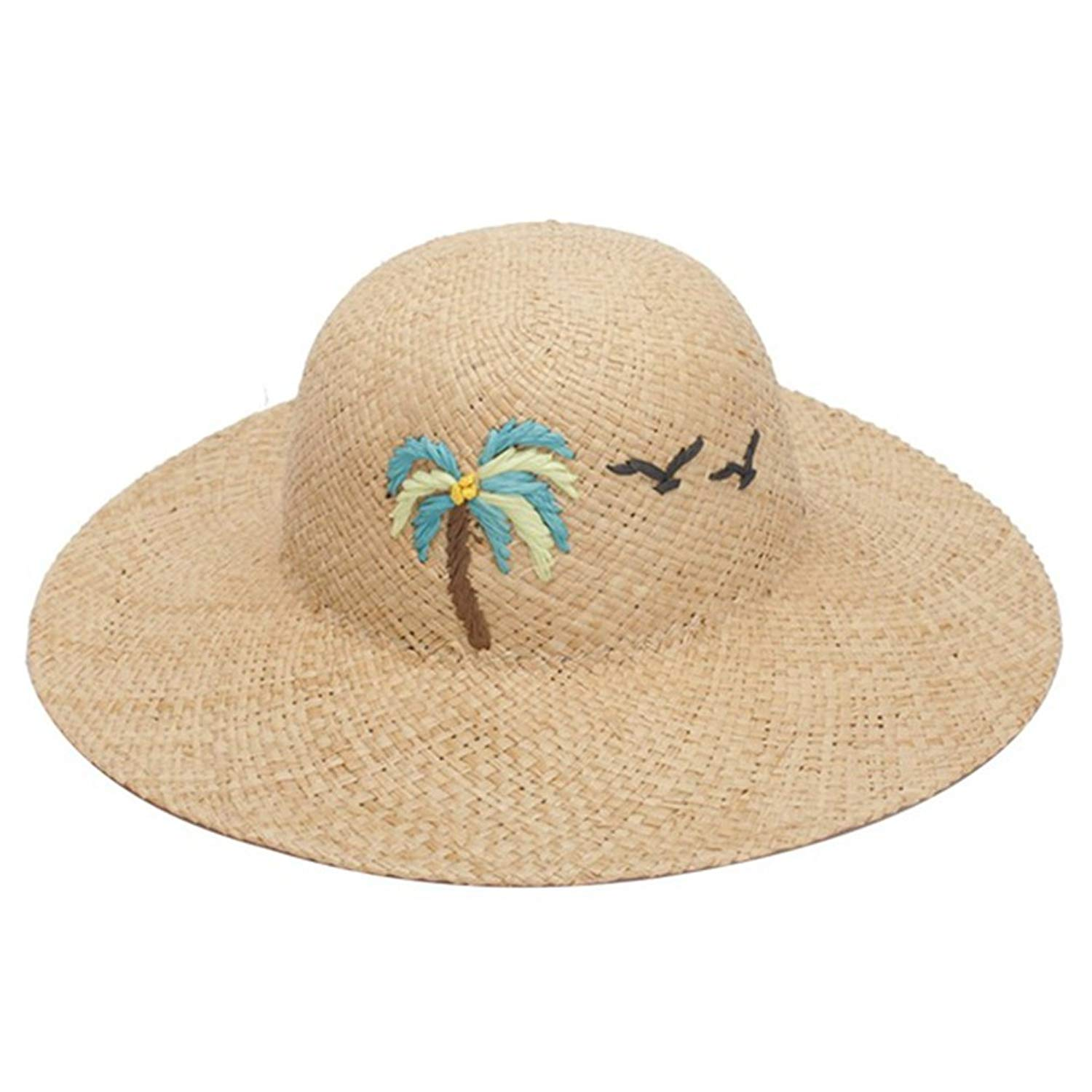 August Jim Summer Hats for Women, Embroidery Coconut Tree Pattern Hat Beach Cap