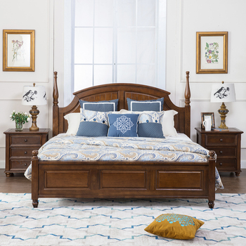 American Style Antique Bedroom Furniture Sets Solid Wood Bed