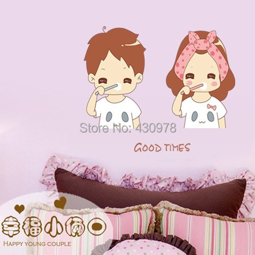 New Arrive QZ1341 Free Shipping Young Love Couple Brush Teeth Good Morning PVC Wall Stickers <font><b>Elegant</b></font> <font><b>Home</b></font> <font><b>Decoration</b></font> Gift