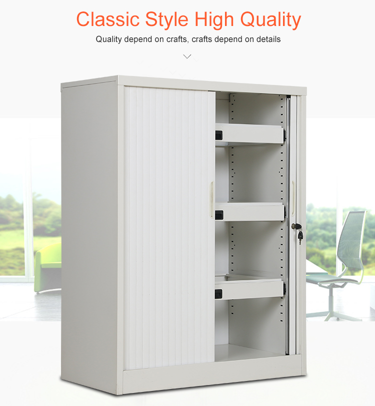 Roll Top Door Sliding Modern Tambour Roller Up Cabinet Filing