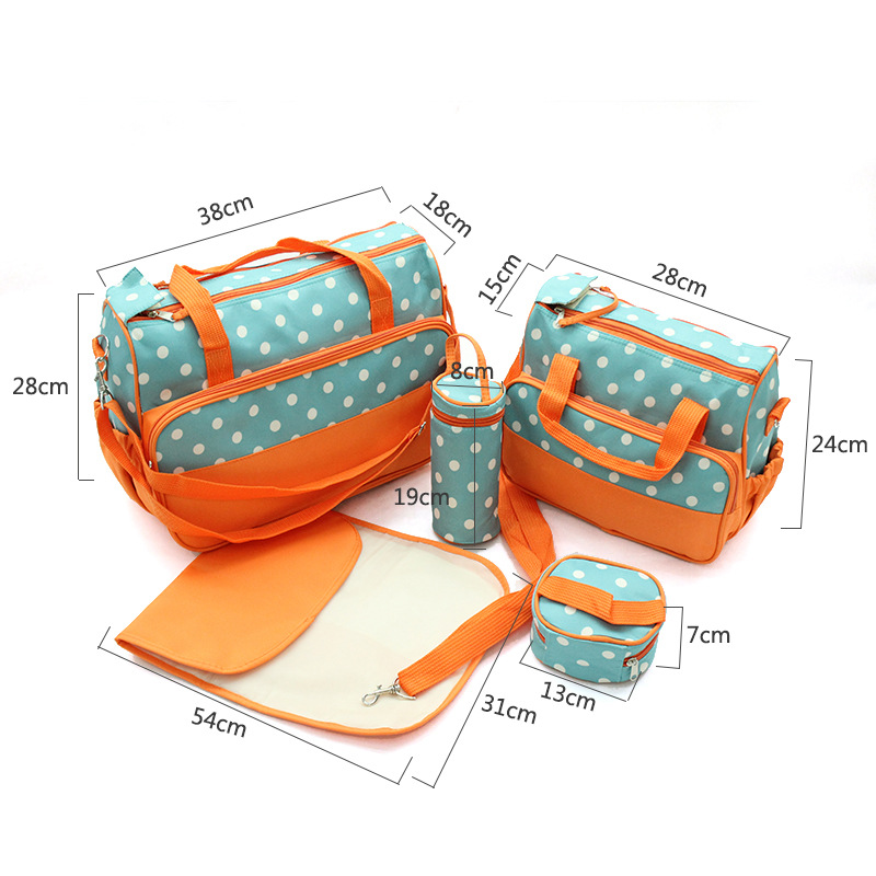 Multifunctional mummy 5 pieces set baby diaper bag organizer with changing pad
