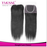 Top grade virgin straight malaysian hair free parting lace closure