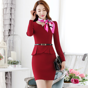 Free Shipping spring Fashion Women Formal Wear Clothes Sexy Causal Ladies Office one piece Dress with belt
