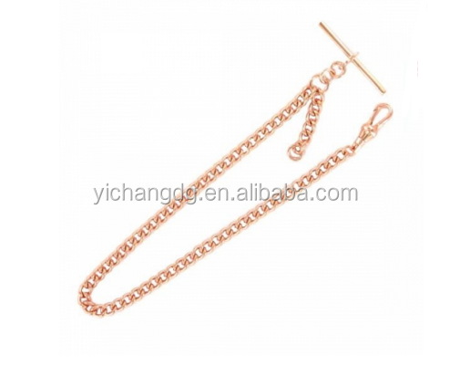 Rose Gold Plated Medium T-Bar 12 Inch Pocket Watch Chain